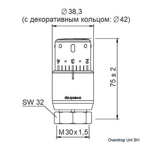 Термостат Oventrop Uni SH М30x1.5 белый/хромированный  - 1